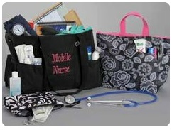 Are you organized? Books – check, nursing equipment – check, lunch – check….. ready to go!